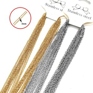 Hip Hop Chains Necklace Men Women Gold Color Stainless Steel 45cm O Link Cuban Chain Necklaces Jewelry DIY Accessories 10pcs lot 364 G2