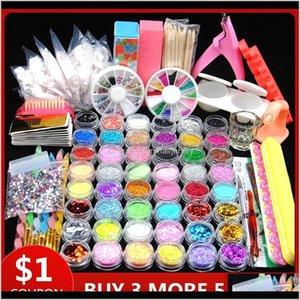Kits Art Salon Health Beauty Drop Delivery 2021 48Pcs Acrylic Glitter For Manicure Nail Kit Polish Decoration False Tip Gel Brush Tool Set Ix