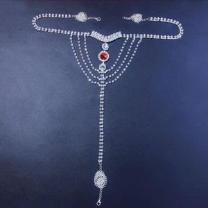 مثير الجسم سلسلة الملابس الداخلية الأحمر كريستال ثونغ سراويل مجوهرات للنساء الفضة اللون حجر الراين البطن الخصر سلسلة هيئة مجوهرات هدية