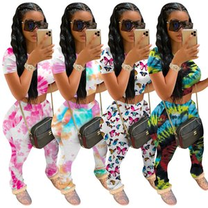 Tie Dye Two Piece Set Women Tracksuits Fitness Summer Casual Outfits Crop Top Stacked Pants Sweat Suit Lounge Wear Matching Sets