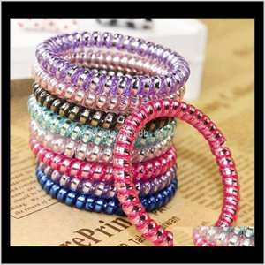 Bands Jewelry Drop Delivery 2021 Ring Telephone Wire Cord Punk Rubber Coil Elastic Band Ties Rope Women Girls Headwear Hair Accessories Scrun