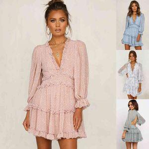 2020 New Boho Floral Mini Dress Sexy Backless Chiffon Beach Dress Long Sleeve A-Line Ruffle Party Summer Pink Sundresses
