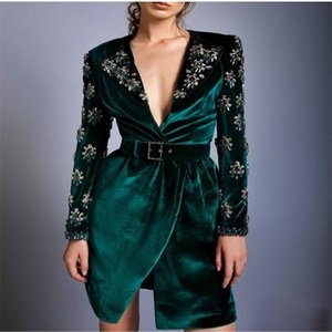 Royal Velvet Long Sleeves Prom Dress Crystal Design Evening Dresses V Neck Knee Length Party Dress Custom Made robe de soiree With Belt