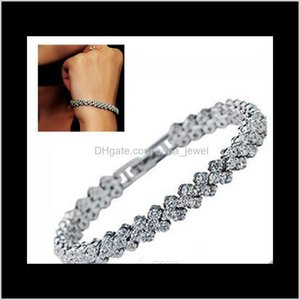 Charm Bracelets Jewelry Drop Delivery 2021 Crystal Jewelry, European And American Roman Bracelet Zircon Bracelet- Snow Queen,Simple Design S0