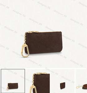 Top quality Genuine Leather Wallet Holder luxury Designer purse Fashion Womens men Purses Mens Key Ring Credit Card Coin Mini Bag Charm Brown Canvas original