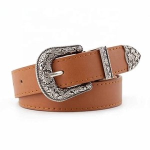 Vintage Adjustable Boho Western Belt Women Black Brown Leather Belt Female Cowboy Hight Waist Belts for Ladies Jeans Dresses