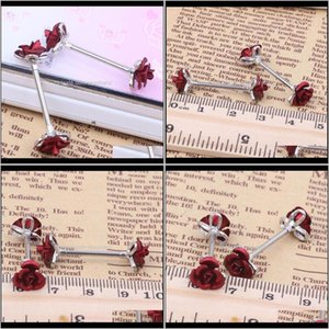 Rings Drop Delivery 2021 Stainless Steel Barbell Piercing Rose Flower Nipple Ring Bar Body Jewelry Wholesales 10Pcs Qjgkz