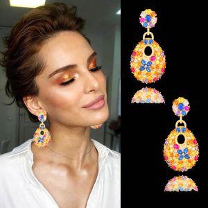Dangle & Chandelier Blachette Fashion Luxury Charm Design Water Drop Noble Earrings For Women Paved Cubic Zircon Wedding Party Daily Jewelry