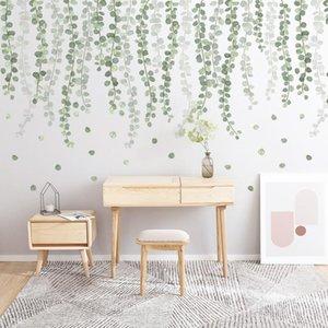 Настенные наклейки Зеленые растения Эвкалиптовые лозы листьев наклейки съемный акварельный декор наклейки для дома гостиная