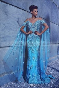 Luxury Mermaid Evening Dresses Cap Wrap Sleeves 3D Floral Appliques Crystal Beaded Prom Dress With Cape Chic Sky Blue Formal Party Robe De Mariée