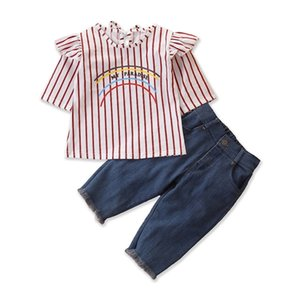 Toddler Kids Baby Girl Ruffles Striped Clothes 2Pcs Set Girls Baby Blouse T-Shirt Tops Denim Pants Jeans Outfits Clothing 1-6Y