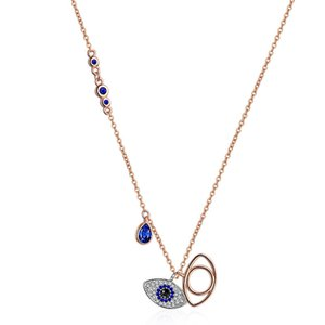 Blue Evil Eye Pendant Necklaces Women Rose Gold Demon Eye Charm Necklaces Fashion Necklace Jewelry Gift
