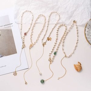 necklaceSimple fresh water pearl niche natural stone sexy Baroque necklace butterfly cherish pendant clavicle chain