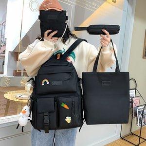 4 PC는 십대 소녀를위한 캔버스 Schoolbags를 설정합니다 여성 배낭 캔버스 키즈 초등학교 가방 대학 학생 노트북 백팩