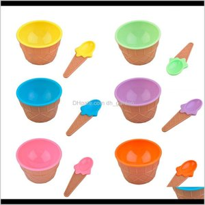 Other Kitchen Dining Bar Creative Kids Children Ice Bowls Spoons Set High Quality Double Layer Heat Insulation Cups Dessert Bowl 3Hdam Urjpf