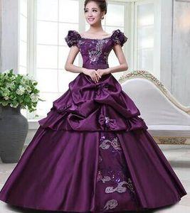 100% настоящие фиолетовые / золотые цветочные средневековые ренессансное платье королева платье викторианской готики / Мари Антуанетта / гражданская война / колониальный Belle Ball