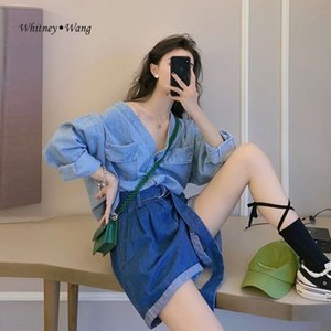 WHITNEY WANG Blouses 2020 Summer Fashion Streetwear V-neck Oversize Denim Blouse Women Blusas Lady Jean Shirt Top