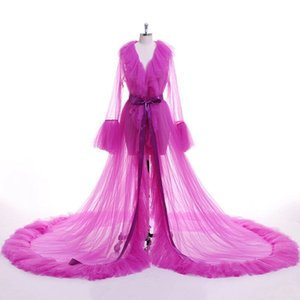 Sexy Women Lingerie Sleepwear Mesh Sheer Tulle Perspective V Neck layered Ruffles Maxi Floor Long Bath Robe Gown Dresses