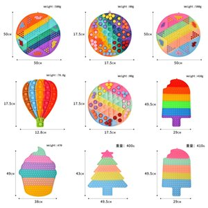 50CM Macaron Rainbow Jumping Chess Christmas Tree Push Pops Bubble Popper Board Large Jumbo Size Poo-its Chessboard Finger Puzzle Toys Early Education G8483FM