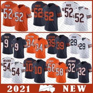 9 Nick Foles 52 Khalil Mack 34 Walter Payton 39 Eddie Jackson Brian Urlacher Mitchell Tarik Cohen ChicagoSuportar jersey de futebol