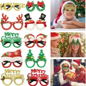 Christmas Cute Cartoon Glasses Frame Glittered Eyeglasses For Kids Adults Santa Claus Snowman Elk Antlers Xmas Party Decoration I75C