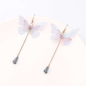 earrings Sweet girl heart long Butterfly Pendant crystal Tassel