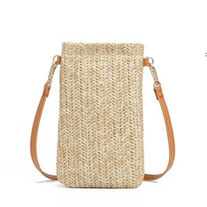 Girls Grass Weaving Purse Kids Buckle Single Straw Shoulder Bags Characteristic Straws Change Purses Fashion Accessories OWD9244