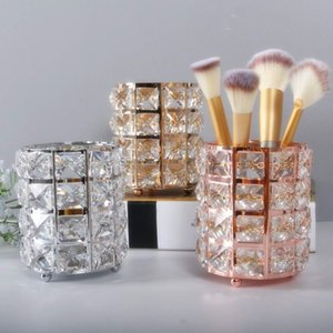 Bright Gifts Desk Candle Pen Organizers Holder Makeup Brush Pencil Storage Box Flower Vase Cosmetic Tube Crystal Signature Candelabrum Silver Rose Golden