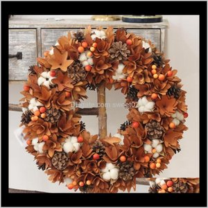 Decorative & Wreaths Harvest Decor Farmhouse Nature Flowers Cotton Wood Rustic Fall Decoration Hanging Front Door Wreath Thanksgiving Hagur
