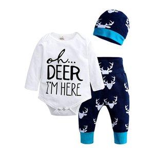 Christmas Boys Girls Vêtements Nouveau-----né Rompes Enfants Baby Filles Garçons Tenue Vêtements Tops + pantalon + Costume de chapeau Jumpsuit