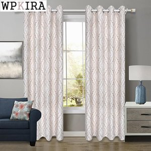 Curtain & Drapes Jacquard Geometric Curtains For Living Room Thick Drape Window Kitchen Shade Finished Product Grommet Eyelets S042#D