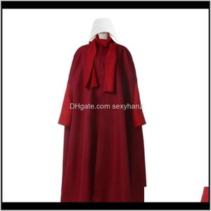 Anime Costumes Apparel Drop Delivery 2021 Handmaid The Handmaids Tale Cosplay Costume Coatdressbagscarfhat Elisabeth Moss June Osborne Offred