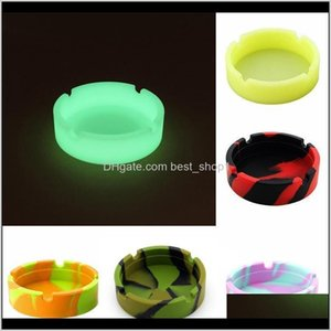 Ashtrays Smoking Accessories Household Sundries Home & Garden Drop Delivery 2021 Sile Soft Round Ashtray Ash Tray Luminous Portable Anti-Scal