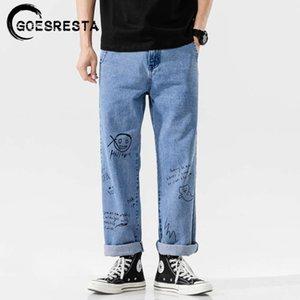 Goesresta Coreano Fashoins Vintage Pantalones rectos Hip Hop Streetwear Harem Pants Harajuku Hombres pantalones vaqueros