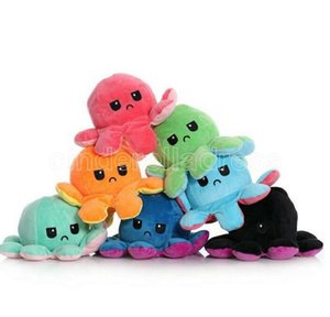 Mix style Reversible Flip Octopus Stuffed Dolls Soft Double-sided Expression Plush Toy Baby Kids Gift Doll New Year Festival Party Supplies