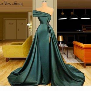 Long Dark Green Satin Evening Dresses 2020 Elegant Ruched Beads Split Evening Gowns Formal Women Dresses