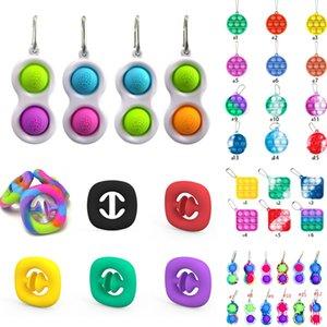 Keychain empurrar bolha fidget brinquedo poppers apertar o dedo brinquedos arco-íris amarrar tintura apertar mão mãos força aperto de força