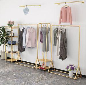 Commercial Furniture Light luxury gold women's clothing store display rack floor type solid hanger multi-layer bag racks
