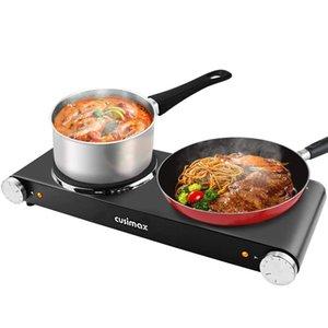 Cusimax 900W + 900W لوحة ساخنة مزدوجة للمطبخ، شريط الطعام الحديد الزهر، موقد كهربائي، الطبخ، المحمولة