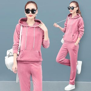 Casual Solid Velvet Tracksuit 2 Piece Sets Women Korean Loose Long Sleeve Hooded Pullover Tops + Pants Sweatsuit Jogging Outfit