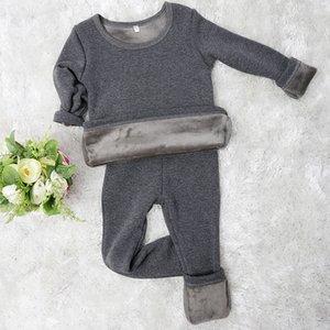 2 قطعة / المجموعة mirco المخملية الأطفال بنين منامة الملابس الداخلية الحرارية فتاة النوم طويل جونز نوم قمم بانت الملابس الليلية clothi 724 y2