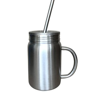 Stainless Steel mug Mason Jar single wall 700ml cup with lid Stainless Steel straw Coffee beer juice mug mason Cans