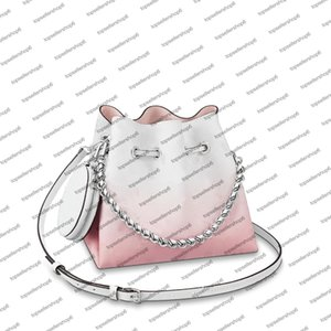 M57855 M57856 adorable BELLA bucket bag women canvas Mahina genuine calf leather gradient color perforated letter flower handbag purse shoulderbag cross-body