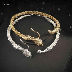 RLOPAY TURKIC SNAKE ARM Банкеты в золоте арабский браслет свадебный браслет браслет большой размер этнических анкетов невесты ювелирные изделия
