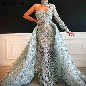 Sexy Mermaid Evening Dresses With Detachable Train High Neck Lace 3D Floral Appliqued Long Sleeve Prom Dress Formal Red Carpet Gowns