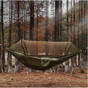 2021 Swings Camping Hammock with Mosquito Net Pop-Up Light Portable Outdoor Parachute Hammocks Swing Sleeping Stuff 260*140CM