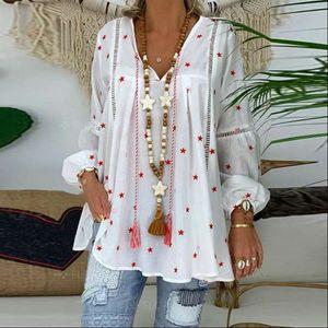 Womens Shirt White Blouse For Women Casual Lantern Long Sleeve Hollow Out Female Tunic 4XL Plus Size Pentagram