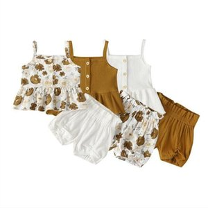 Baby Girls Floral Printed Clothing Sets Kids Suspender Top Ruffle Shorts Suits Children Summer Fashion Article pit Camisole PP Pants AYP463