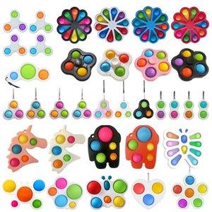 푸시 팝 간단한 딤플 키 체인 키 링 키즈 손가락 장난감 FIDGET Sensory Squeeze 장난감 퀴지 벤트 공 안티 불안