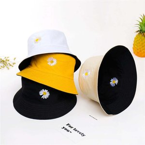 주름진 국화와 함께 여름 남성과 여성 야외 레저 양동이 어부의 모자 수 놓은 면화 썬 블록